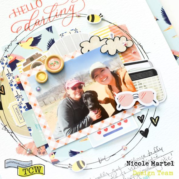 @nicolemartel1978 is sharing this adorable mixed media layout featuring the Sending Love, Beautiful Sentiments and When it Rains stamp sets. What a beautiful, whimsical layout.