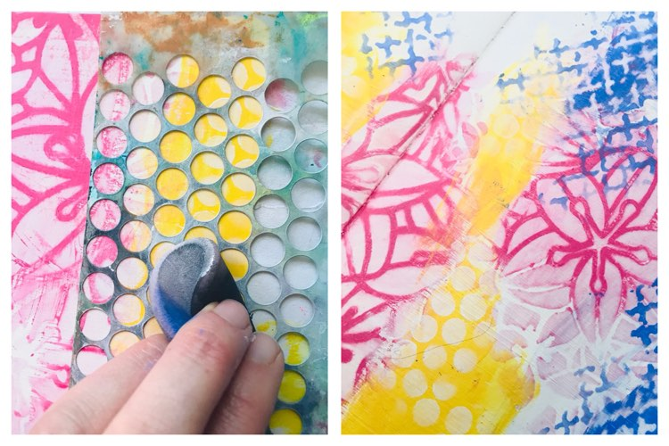adding white dots with a stencil to the yellow paint