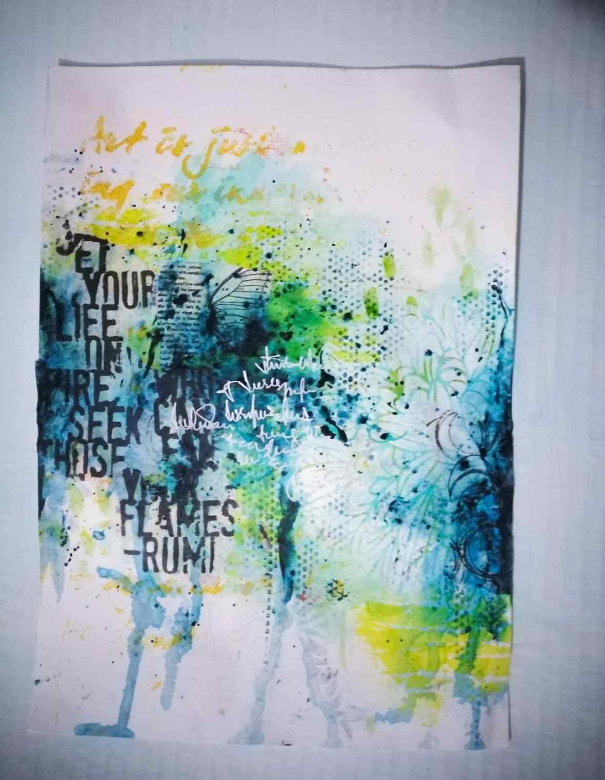 Art journal spread, mixed media