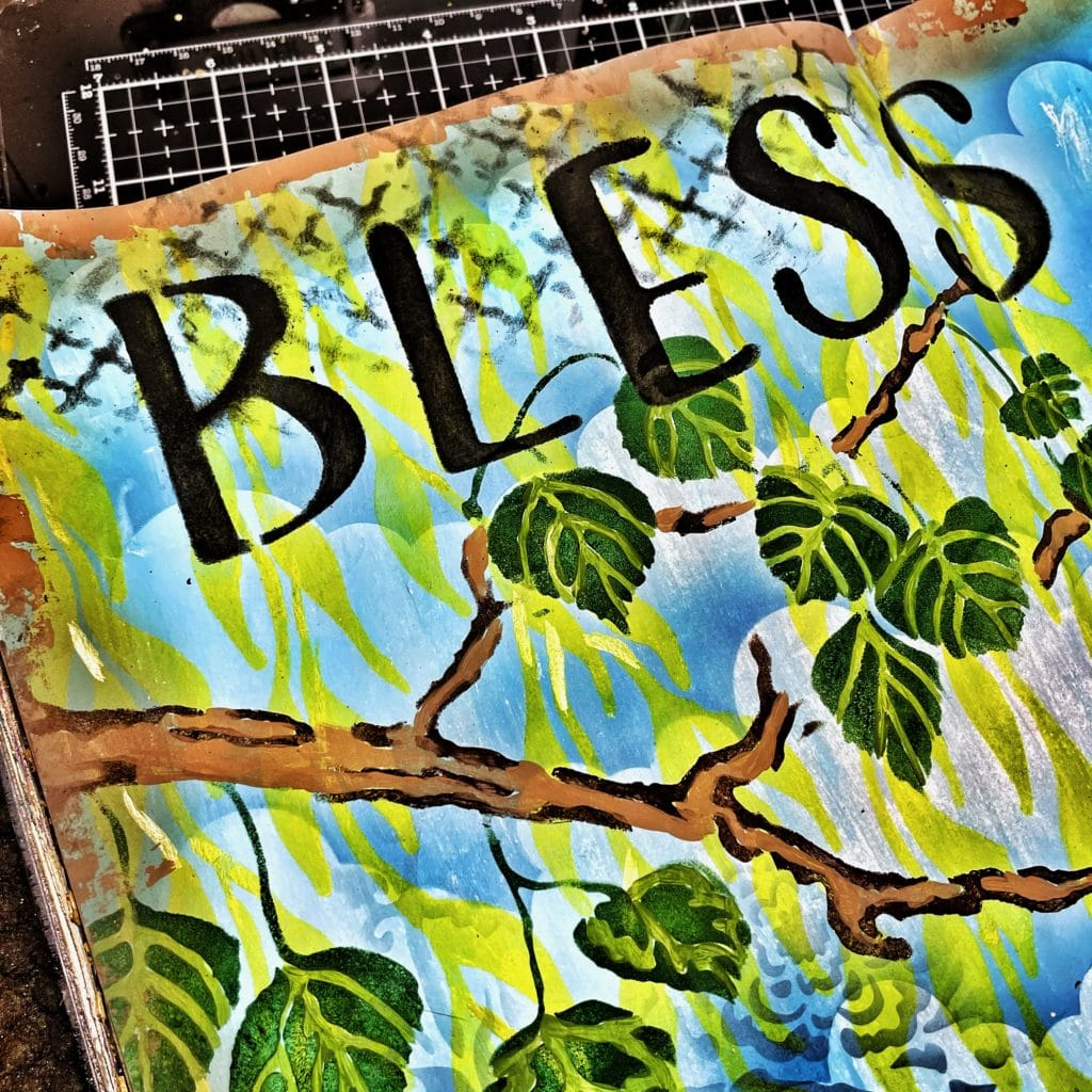 black acrylic paint through 12x12 TCW554 Butterfly Collage Stencil and TCW2411 Bless this Nest Sign Stencil
