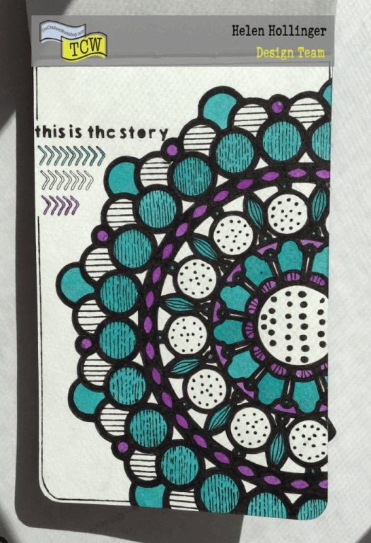 Finished page using Mandela stencil and ColorSparx in a tiny journal.
