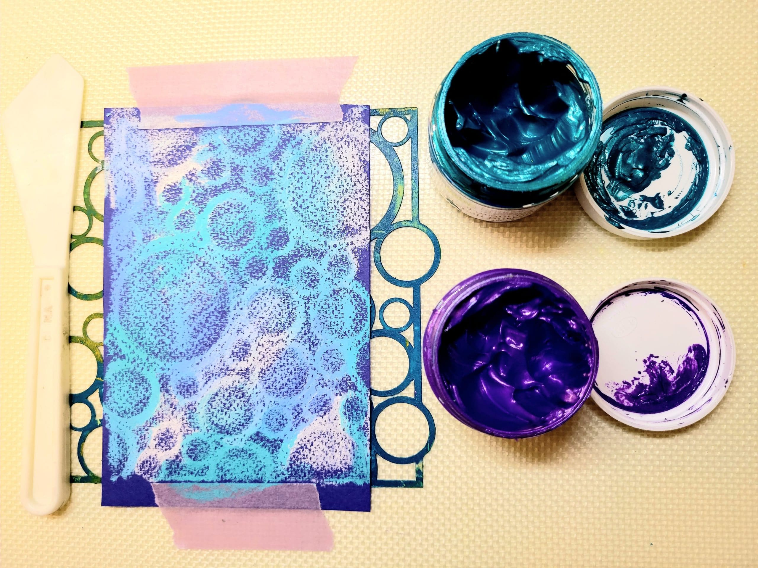 Turquoise and Orchid stencil butters