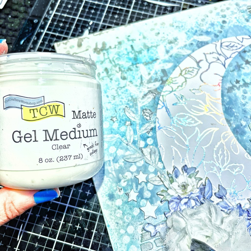 TCW9011 Matte Gel Medium on the back of the white leaf ribbon with a palette knife