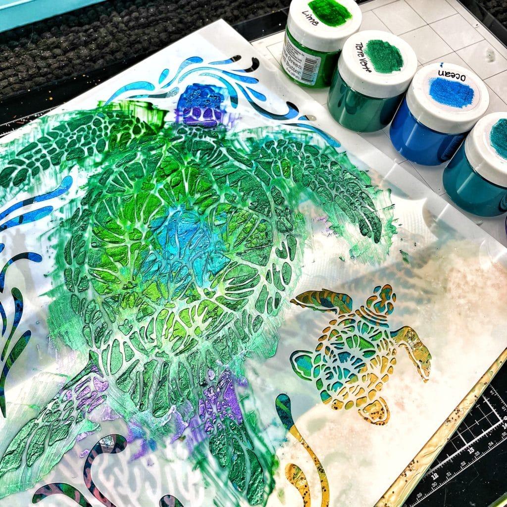 TCW9062 Lime Green Stencil Butter, TCW9063 Ocean Blue Stencil Butter, TCW9070 Terre Verte Stencil Butter, TCW9064 Turquoise Stencil Butter and TCW9066 Orchid Stencil Butter through 12x12 TCW610 Sea Turtles Stencil
