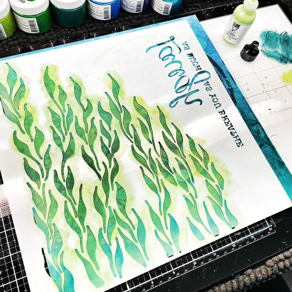light green acrylic with a sponge through 12x12 TCW568 Moving Vines Stencil