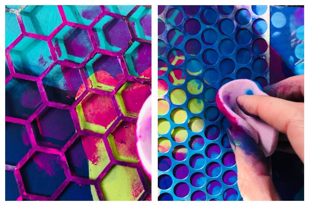 adding patterns with honeycomb and circle stencil
