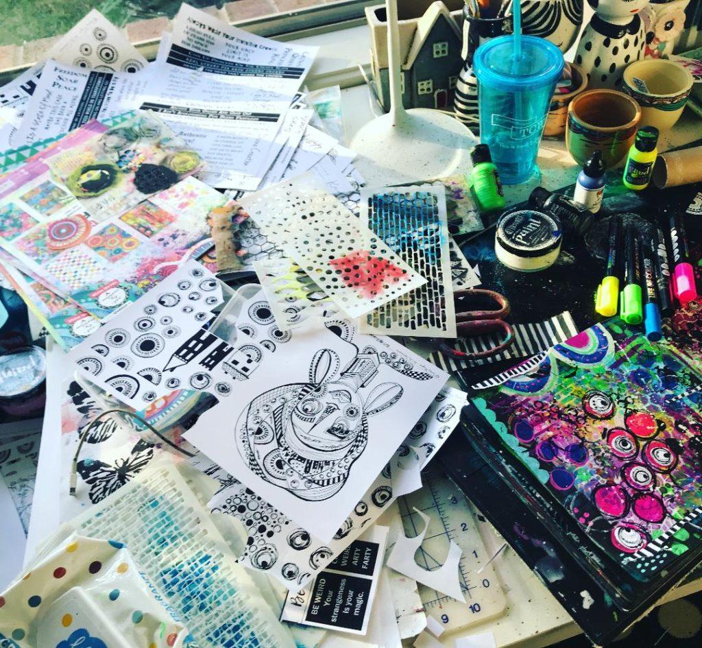 Tambarambaa's desk after she finishes creating - mess!