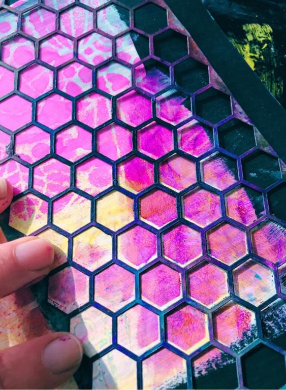 honeycomb stencil and purple paint