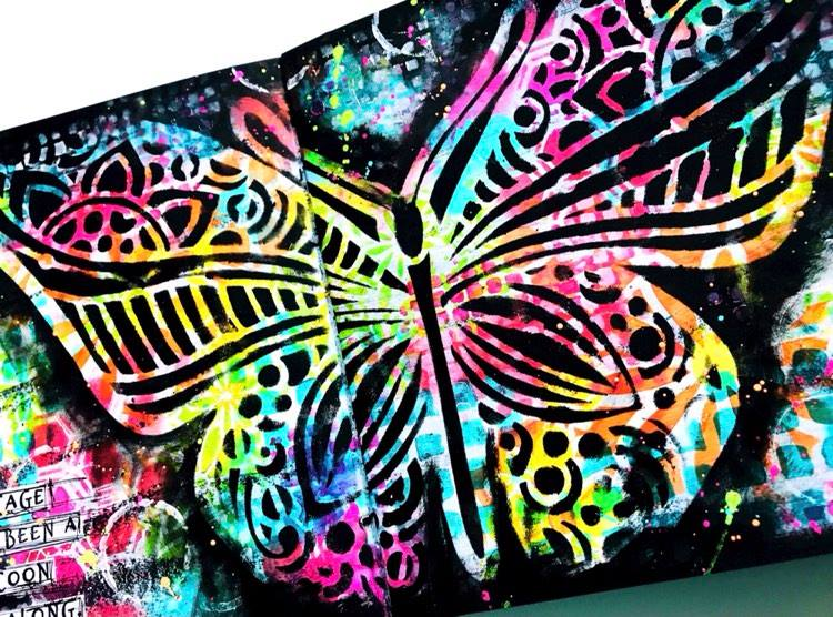 large butterfly created with a stencil