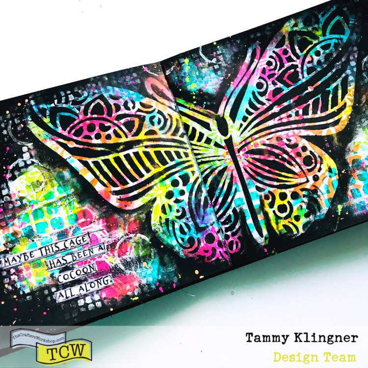 brightly colored art journal page with a large grungy black butterfly  #tcwstencillove Tammy Klingner Tambarambaa