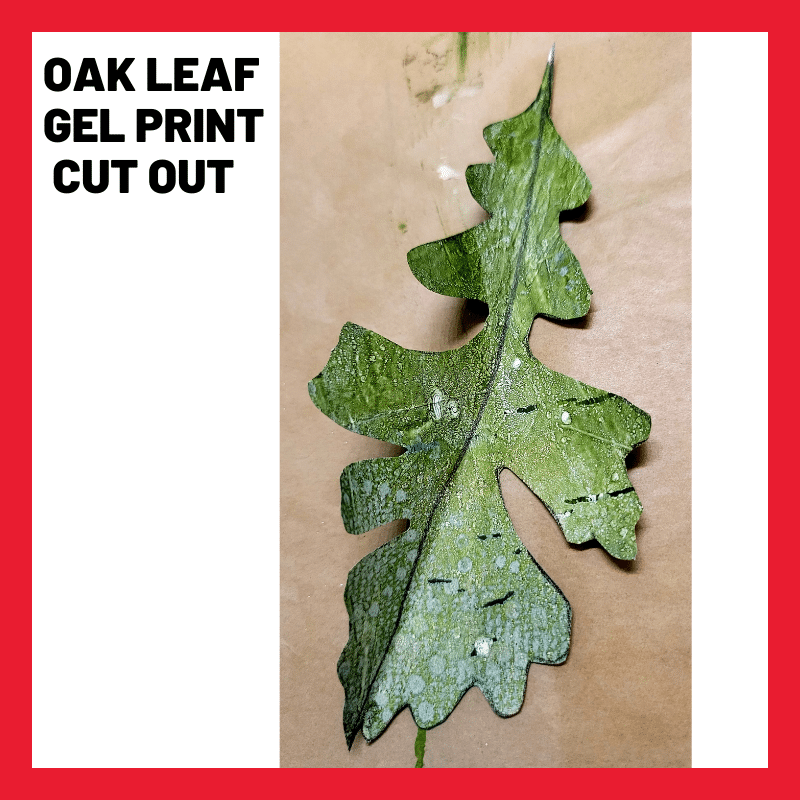 Close up image showing a traced, cut out, gel printed oak leaf shape on the inside of a security envelope.