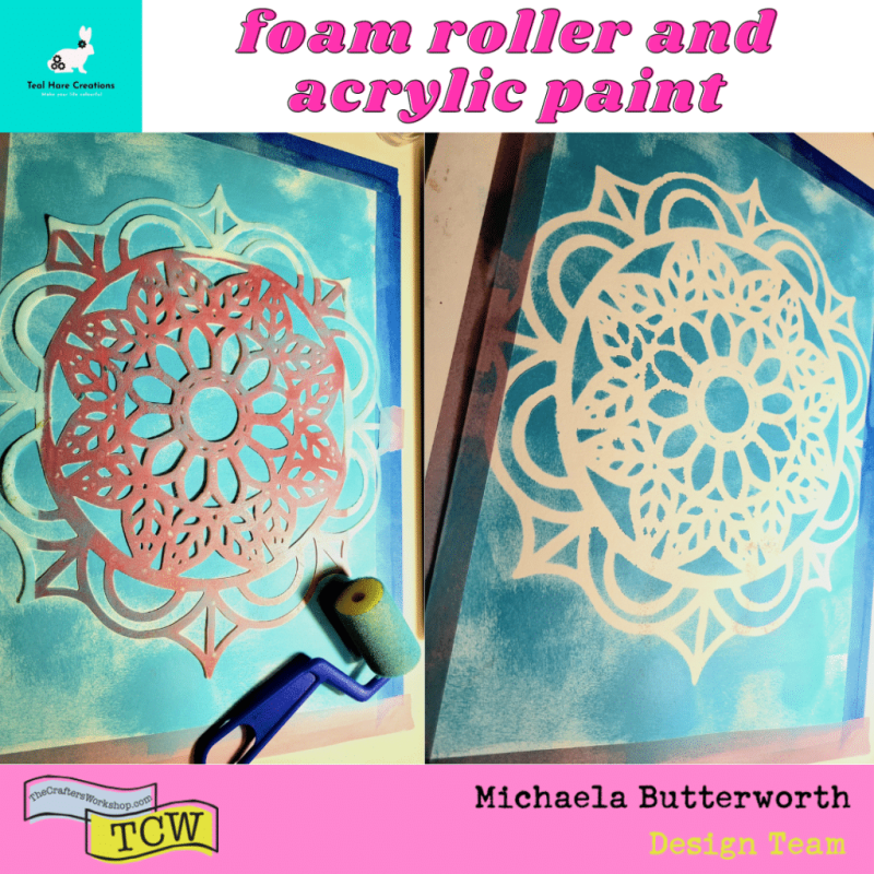 Two close up images. The image on the left shows the stencil taped to the paper. A foam roller sits adjacent to the stencil, the paint has been applied through the stencil. The image on the right shows the stencil removed and the stenciled image on the paper.