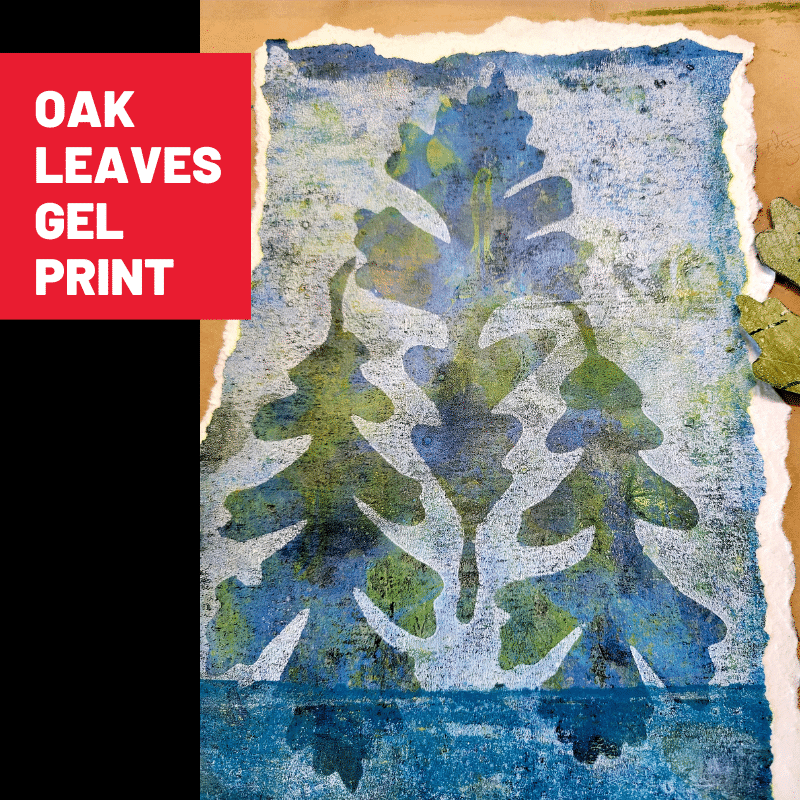 Close up image showing a delicious gel print with a color palette of blues, yellows, and greens under white acrylic paint with three oak leaf shapes revealing the colors, below.