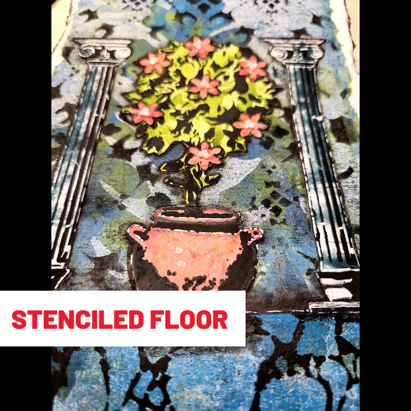 Close up image show TCW9002 black gesso that has been sponged through stencil TCW565 Organic Matter Mask to create a marbled effect for the stone floor.