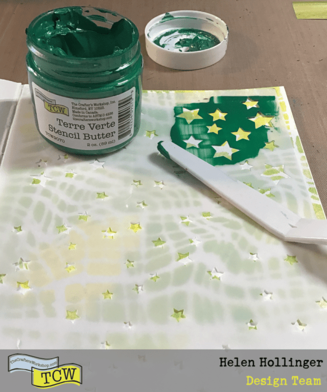Using TCW2163 Stencil Twinkle, I applied some TCW9070Terre Verte Stencil Butter over the entire page with a TCW Palette Knife