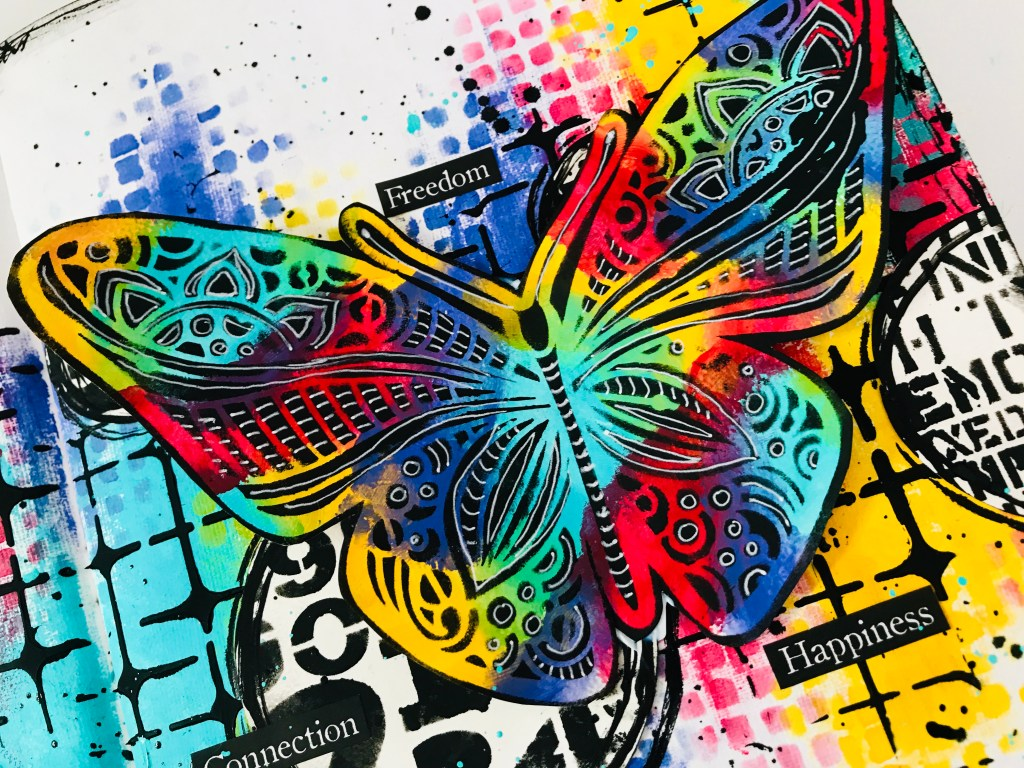 close up of completed rainbow butterfly