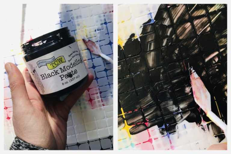 adding black modeling paste through tile mania stencil