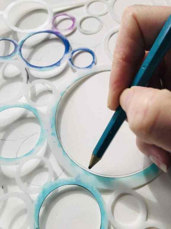 tracing circles through a stencil