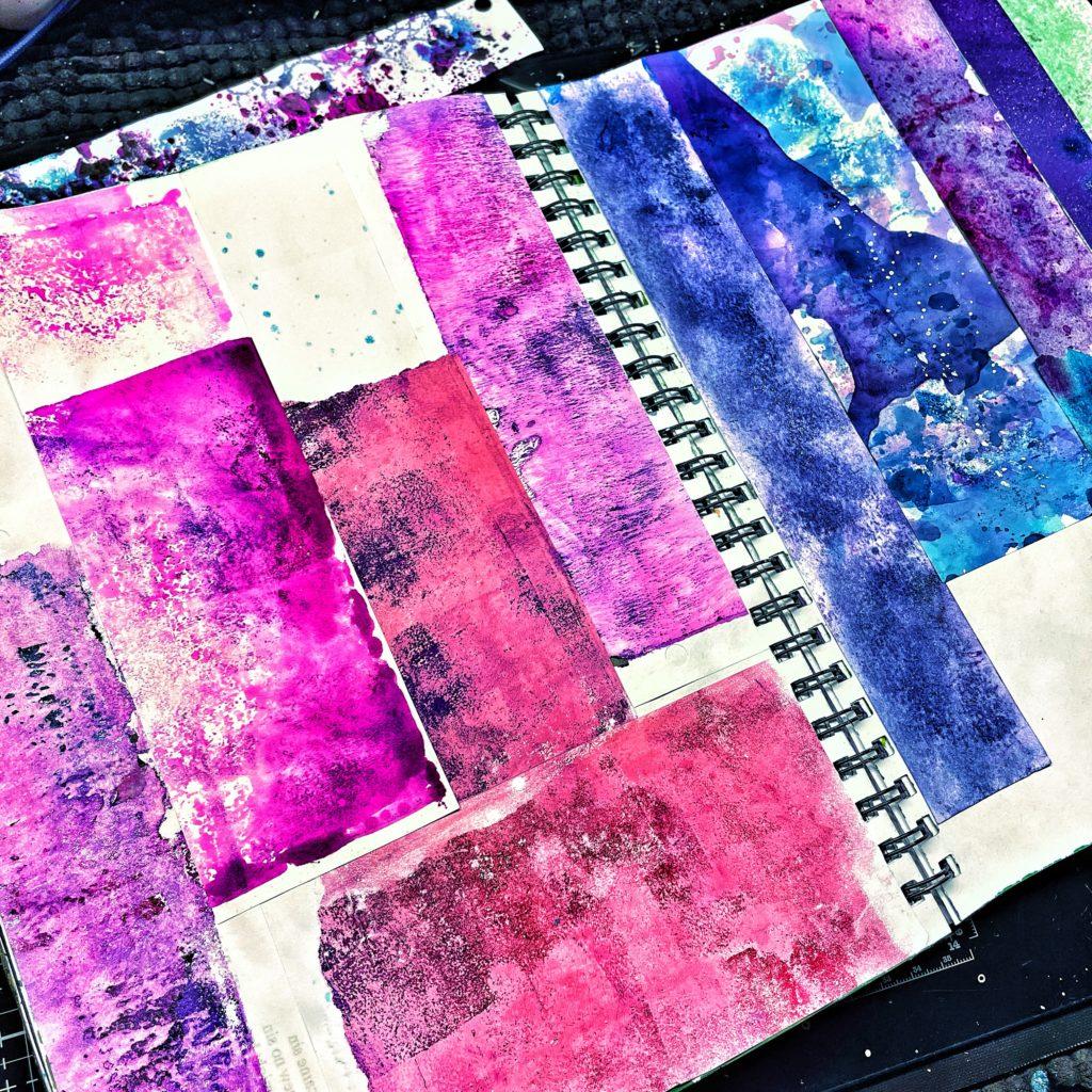 big blocks of color paper scraps