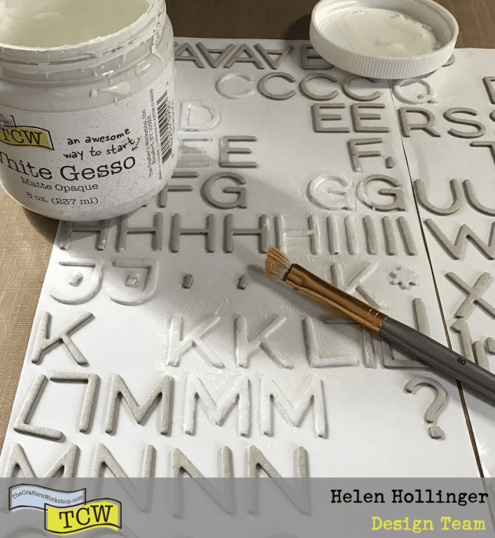 Use TCW9001 White Gesso to paint over some random chipboard letters and place in middle area of your art journal spread.