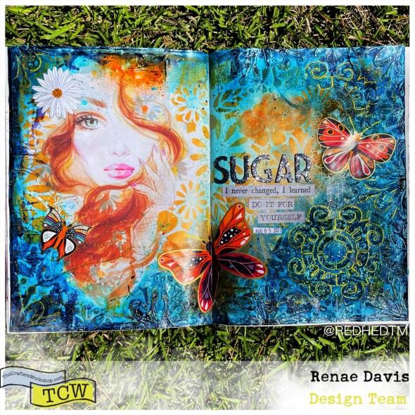 Sugar Daisy Rain Mixed Media Art Journal by Renae Davis