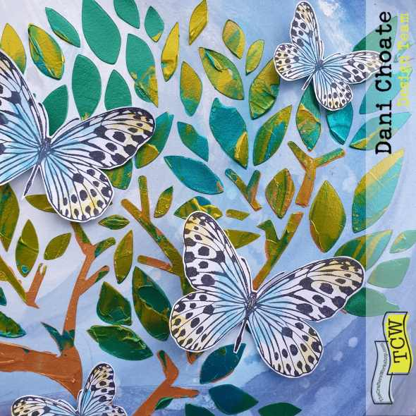 Butterflies in the tree - TCW831 Faithful Tree with stencil butters