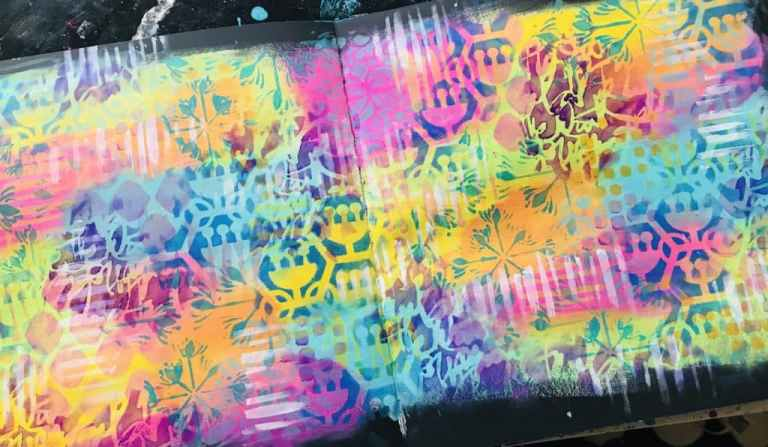 background of art journal with loads of colors