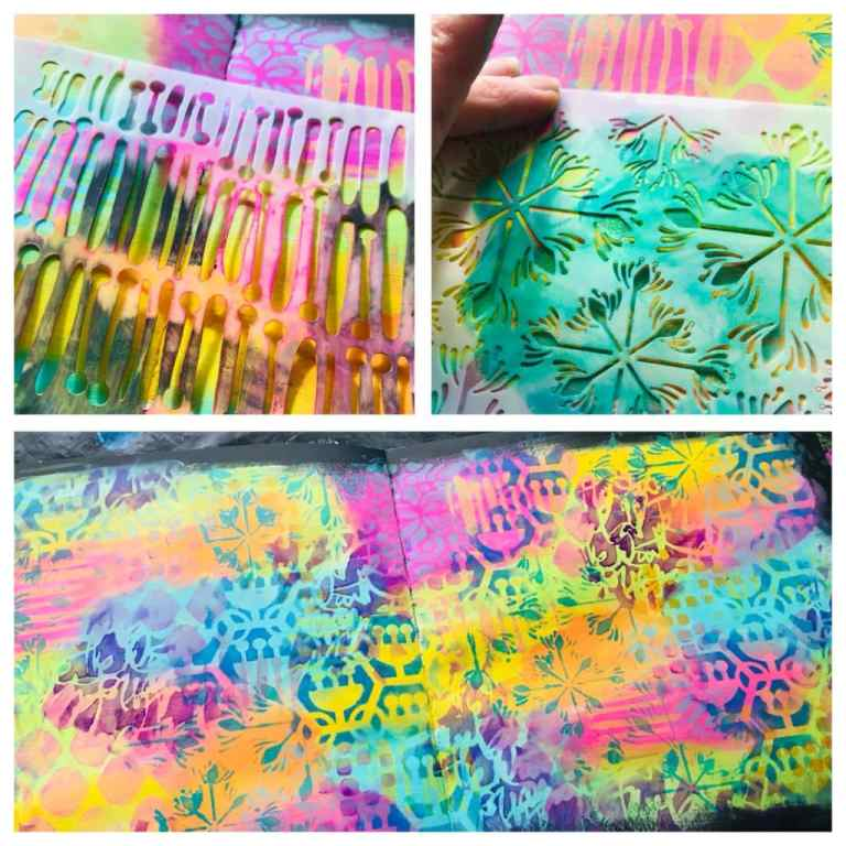 adding stencil marks by using a makeup sponge and creating a bold colorful background