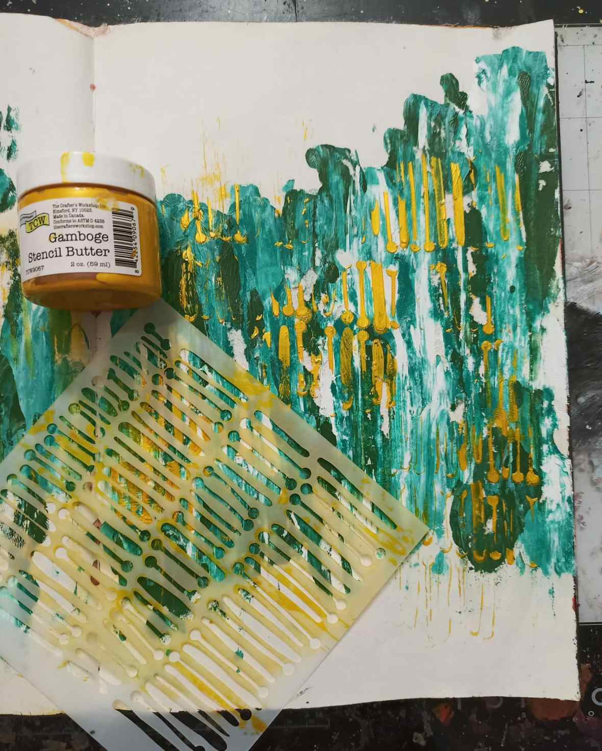 Art journal spread background texture with acrylic paints, stencil butters, stamps and inks
