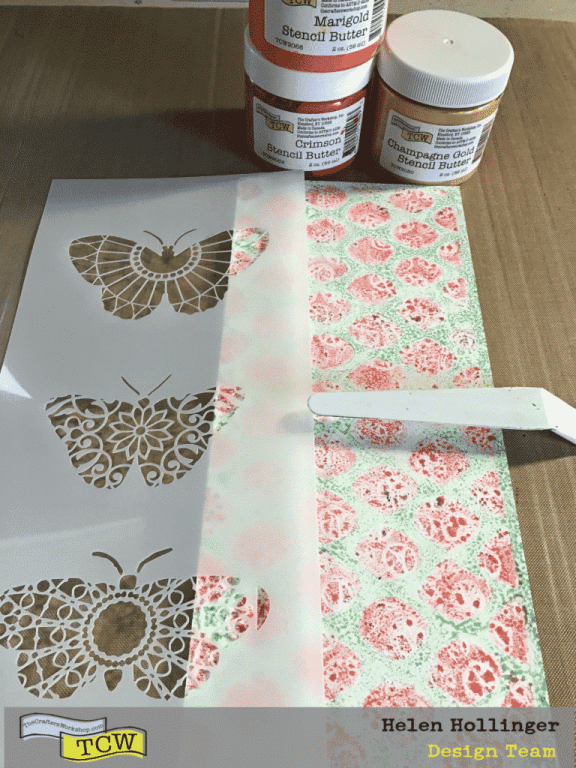 I placed TCW2317 Monarch Trio Slimline Stencil over the slimline board, and used TCW Palette Knife to spread the 3 colors of Stencil Butters over the butterflies! TCW9069 Stencil Butter – Crimson; TCW9068 Stencil Butter in Marilgold; TCW9080 Stencil Butter in Champagne Gold