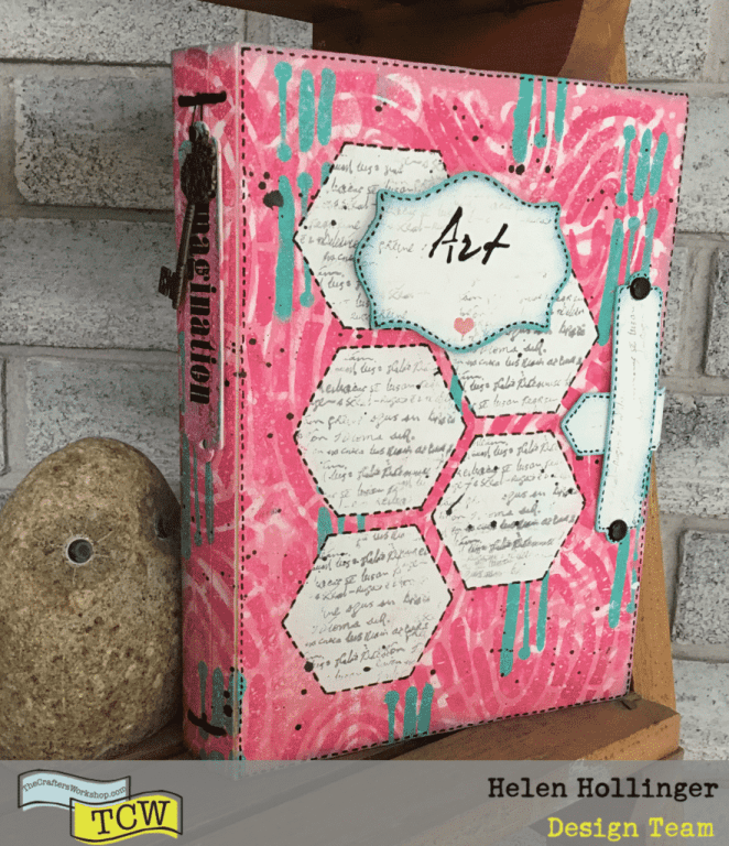 Finished art journal using TCW products and dies from Eileen Hull.