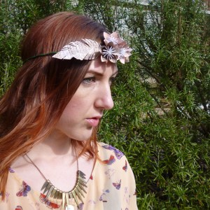 Origami flower headdress