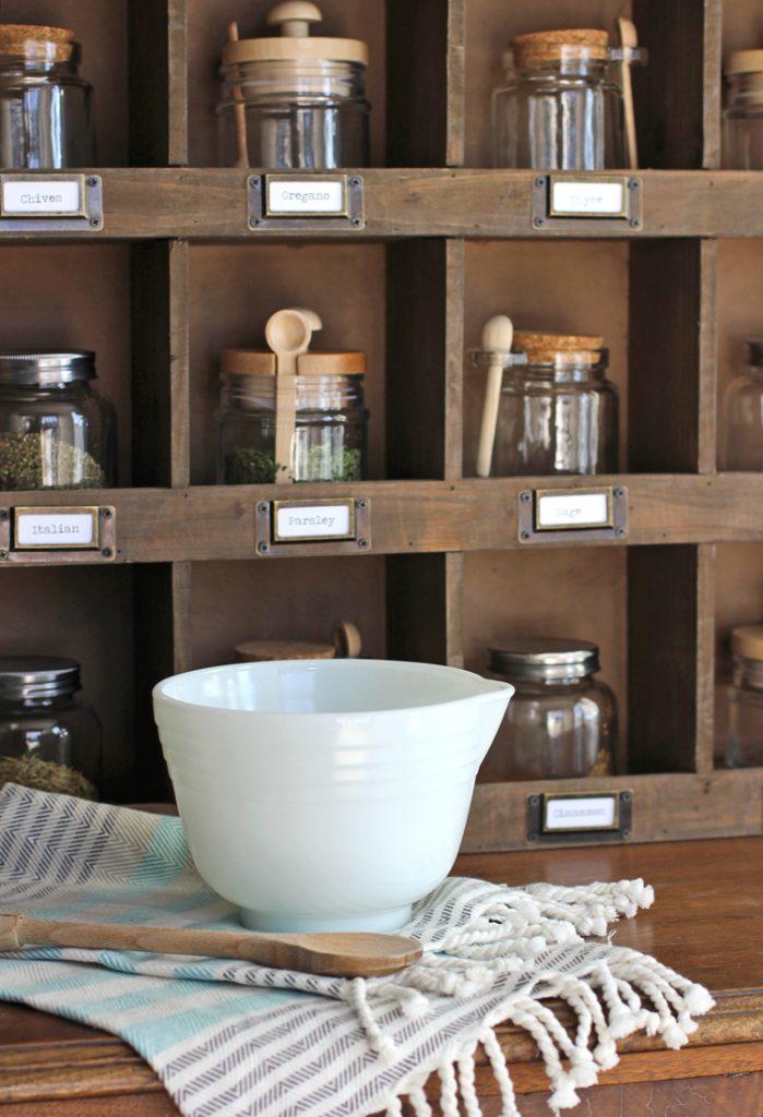 farmhouse wooden cubby shelf styling