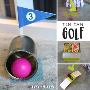 Make a tin can golf game from recycled junk