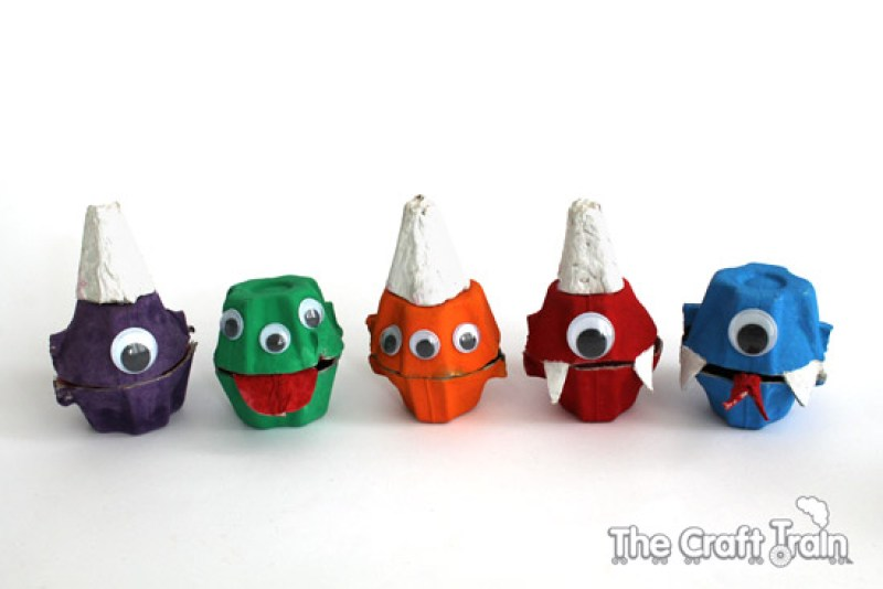 Cute egg carton monster treat holders