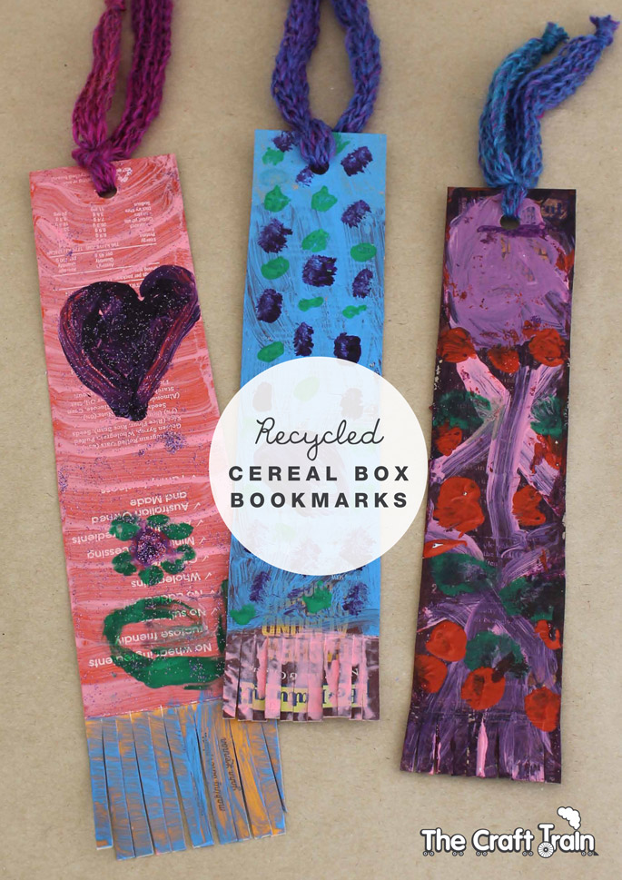 Recycled cereal box bookmarks