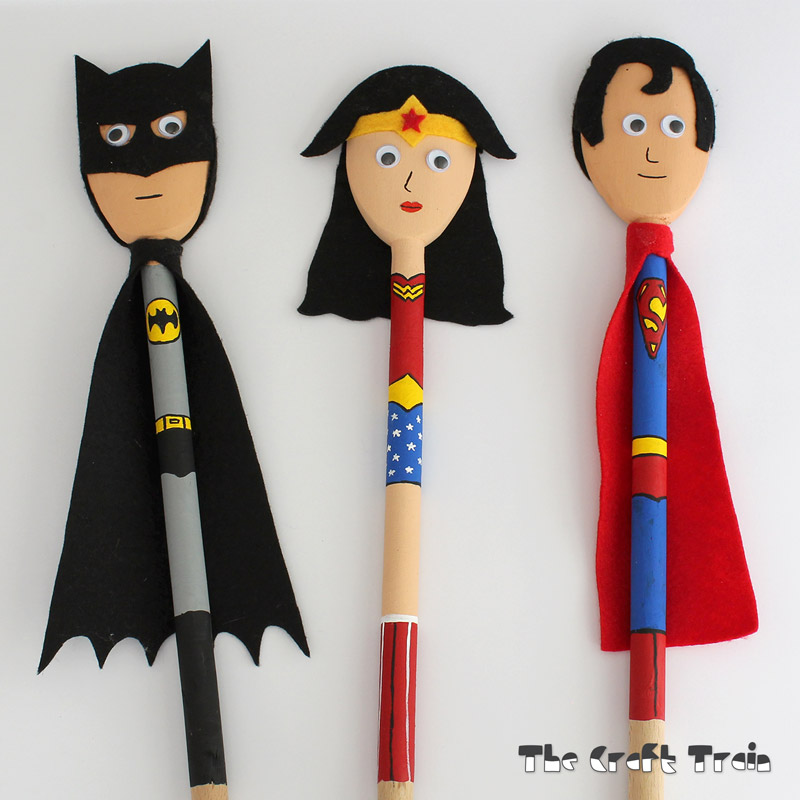 Super Hero Spoon Puppets