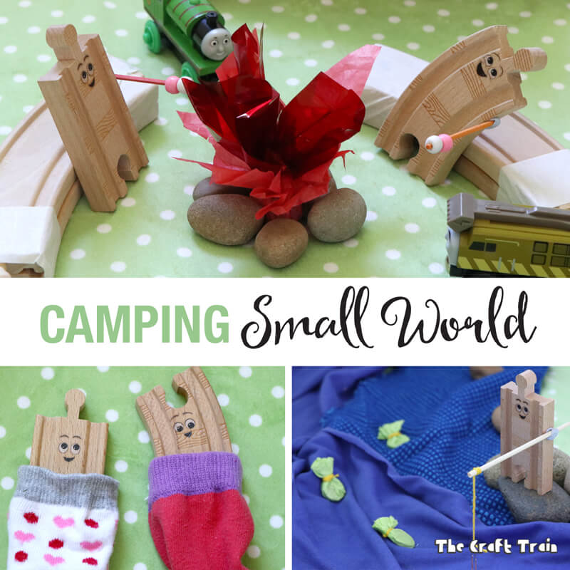 """Create a camping small world for creative play. This idea is inspired by the book """"Old Tracks New Tricks"""" by Jessica Peterson"""
