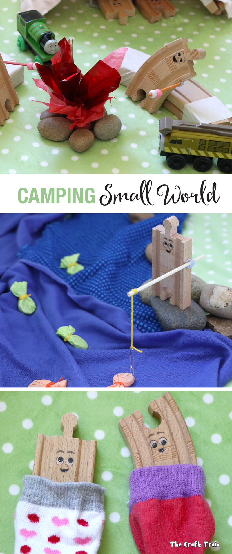 DIY camping small world for creative play. Includes magnet fish, a train-track frame tent and a crackling campfire complete with marshmallows on sticks. This has been inspired by the book 'Old Tracks New Tricks' by Jessica Peterson.