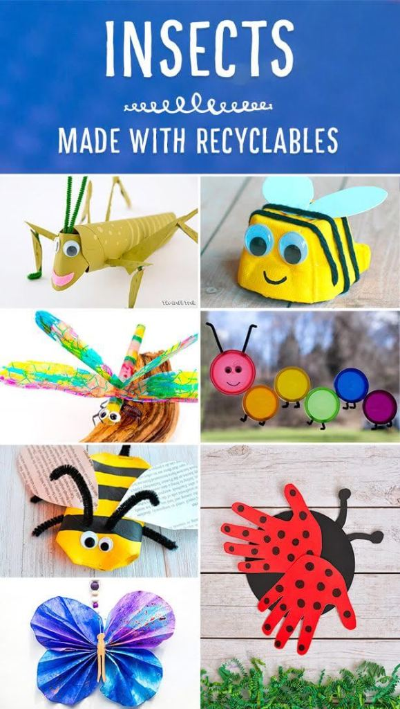 Lots of adorable insect crafts using recyclables