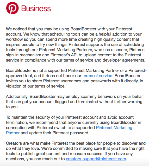 Pinterest e-mail officially stating BoardBooster is not an approved scheduler