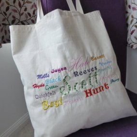 Personalised tote bag with family surnames