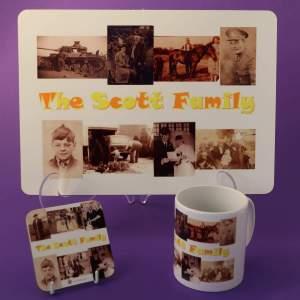 Family Photos on a table mat, mug and coaster