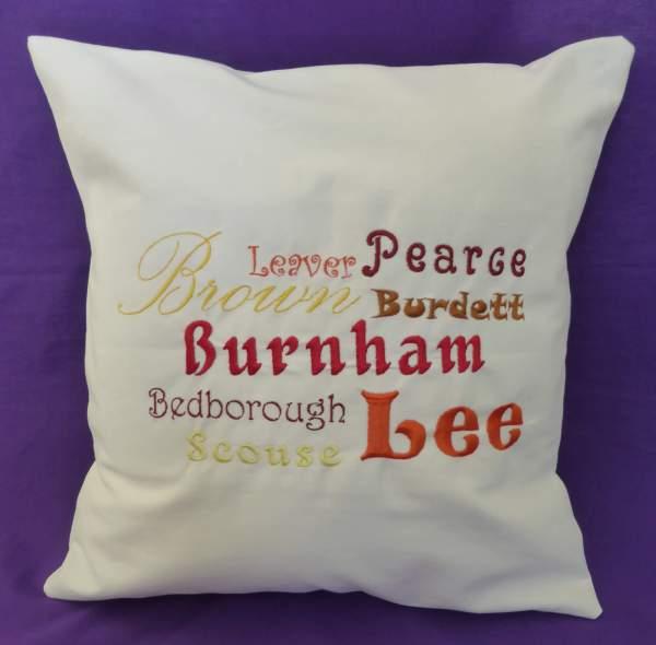 Ancestors' Surnames Cushion Cover