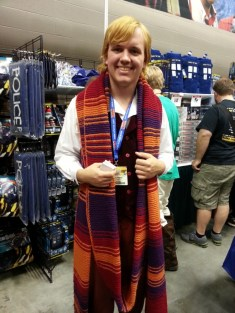 I love his scarf. Turned out so much better than mine!