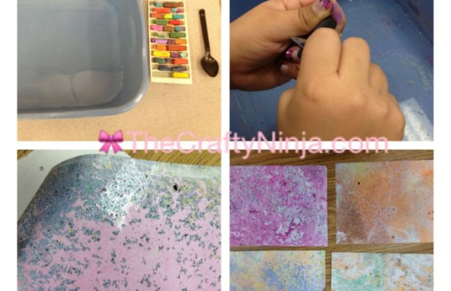 How to marbleize paper with chalk pastel