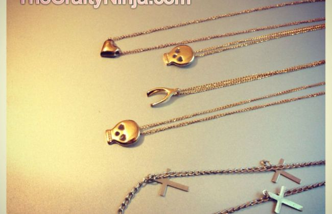 dainty heart skull wishbone cross necklace