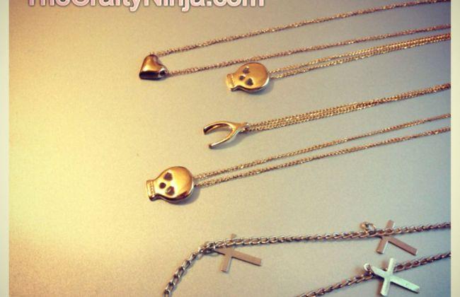 dainty heart skull wishbone cross necklace