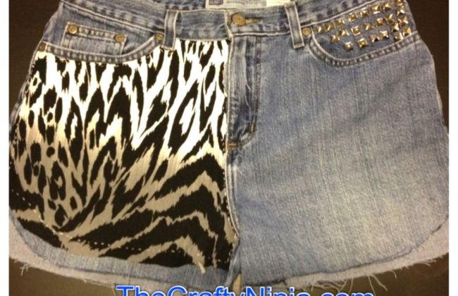 diy pyramid stud leopard jeans