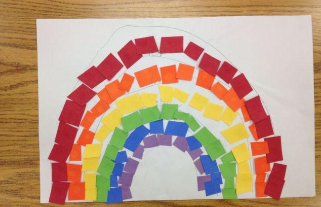 kids rainbow collage